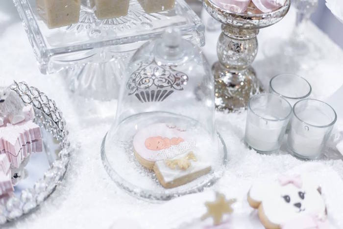 Baby snow globe cookie from a Winter Wonderland Baby Shower on Kara's Party Ideas | KarasPartyIdeas.com (23)