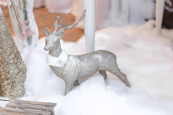 Glitter deer from a Winter Wonderland Baby Shower on Kara's Party Ideas | KarasPartyIdeas.com (22)