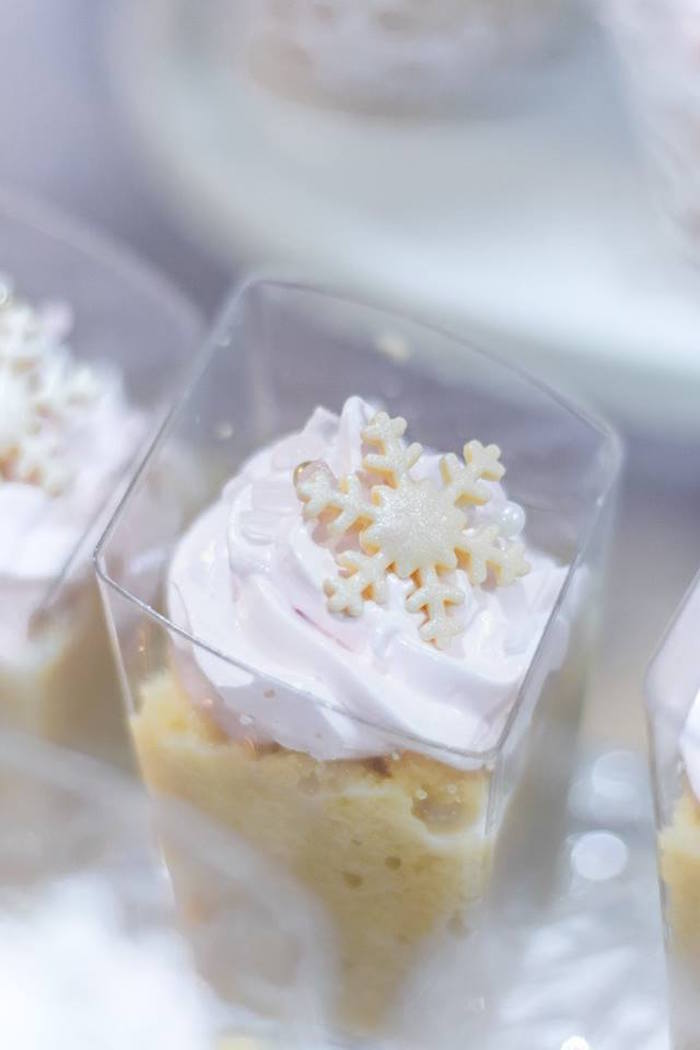 Snowflake-topped dessert cup from a Winter Wonderland Baby Shower on Kara's Party Ideas | KarasPartyIdeas.com (20)