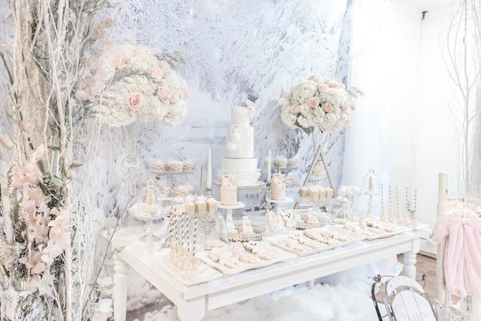 Dessert table from a Winter Wonderland Baby Shower on Kara's Party Ideas | KarasPartyIdeas.com (19)