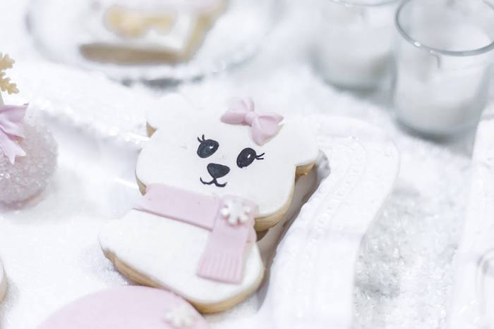 Polar Bear Cookie from a Winter Wonderland Baby Shower on Kara's Party Ideas | KarasPartyIdeas.com (43)