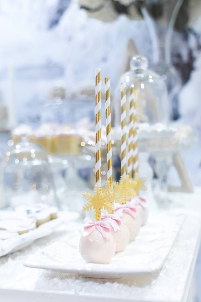 Snowflake cake pops from a Winter Wonderland Baby Shower on Kara's Party Ideas | KarasPartyIdeas.com (15)