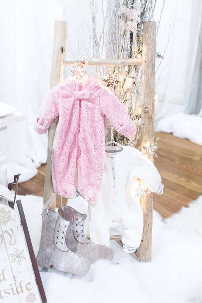 Hanging winter onesies from a Winter Wonderland Baby Shower on Kara's Party Ideas | KarasPartyIdeas.com (9)