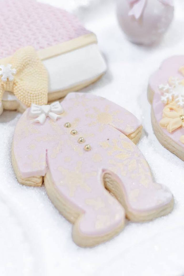 Onesie cookie from a Winter Wonderland Baby Shower on Kara's Party Ideas | KarasPartyIdeas.com (41)
