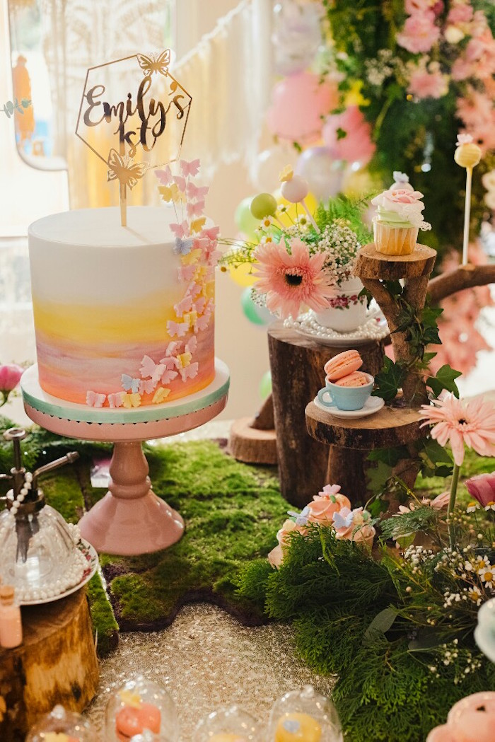 Cake + cake table from a Woodland Butterfly Tea Party on Kara's Party Ideas | KarasPartyIdeas.com (16)