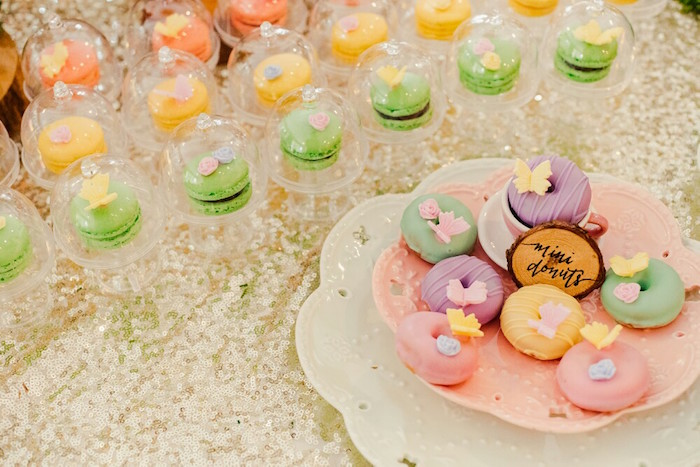 Macarons and doughnuts from aWoodland Butterfly Tea Party on Kara's Party Ideas | KarasPartyIdeas.com (13)