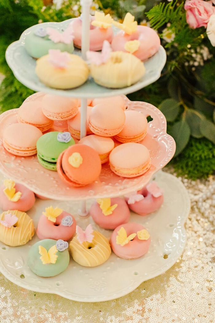 Macarons and doughnuts from a Woodland Butterfly Tea Party on Kara's Party Ideas | KarasPartyIdeas.com (12)