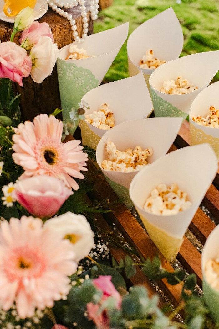Popcorn cones from a Woodland Butterfly Tea Party on Kara's Party Ideas | KarasPartyIdeas.com (10)