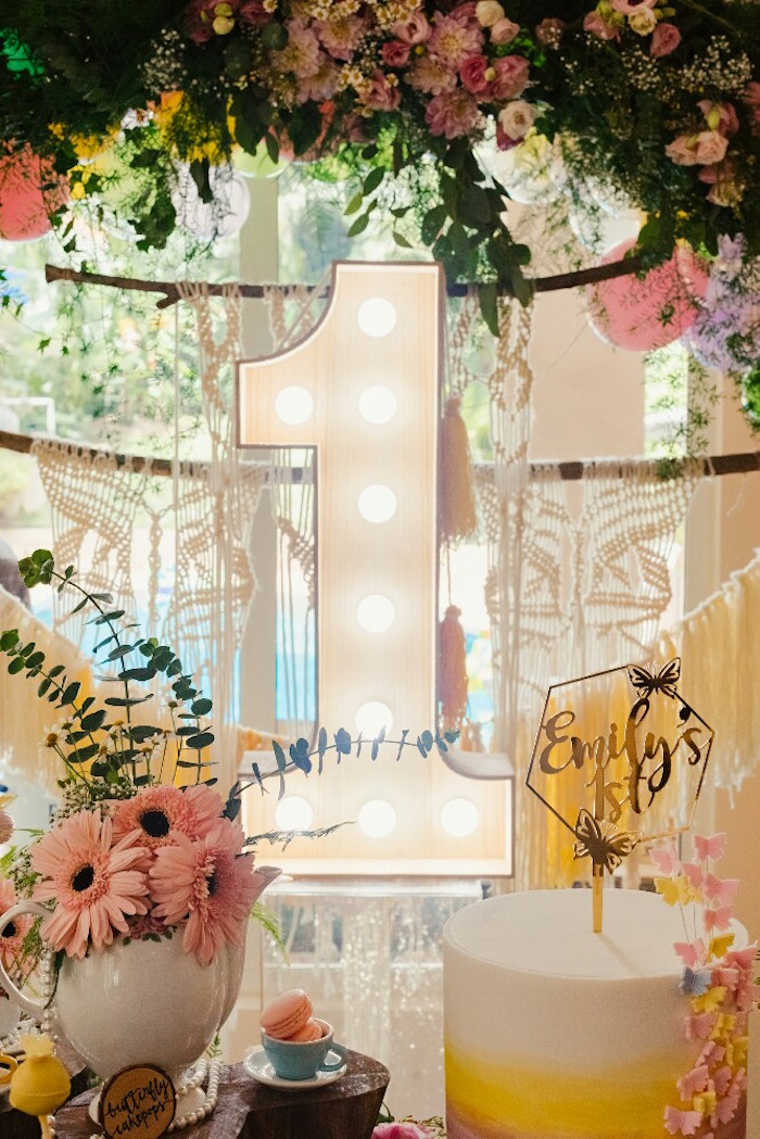 Marquee 1 with floral arch from a Woodland Butterfly Tea Party on Kara's Party Ideas | KarasPartyIdeas.com (6)