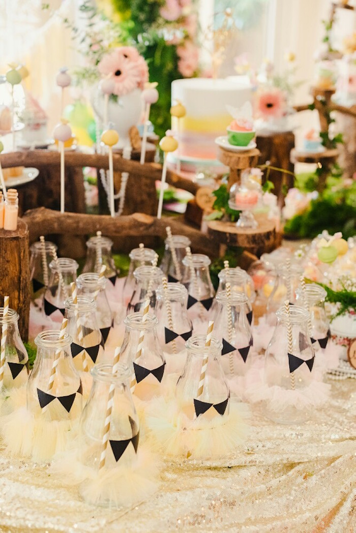 Drink bottles with tulle tutus from a Woodland Butterfly Tea Party on Kara's Party Ideas | KarasPartyIdeas.com (21)