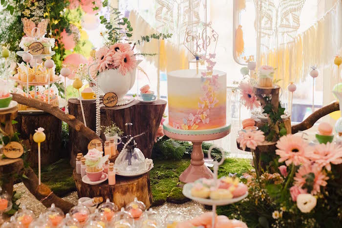 Dessert table from a Woodland Butterfly Tea Party on Kara's Party Ideas | KarasPartyIdeas.com (18)