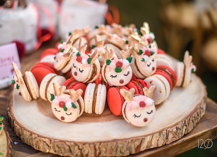 Reindeer macarons from a Woodland Holiday Birthday Party on Kara's Party Ideas   KarasPartyIdeas.com (6)