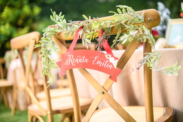 Guest chair bunting from a Woodland Holiday Birthday Party on Kara's Party Ideas   KarasPartyIdeas.com (5)
