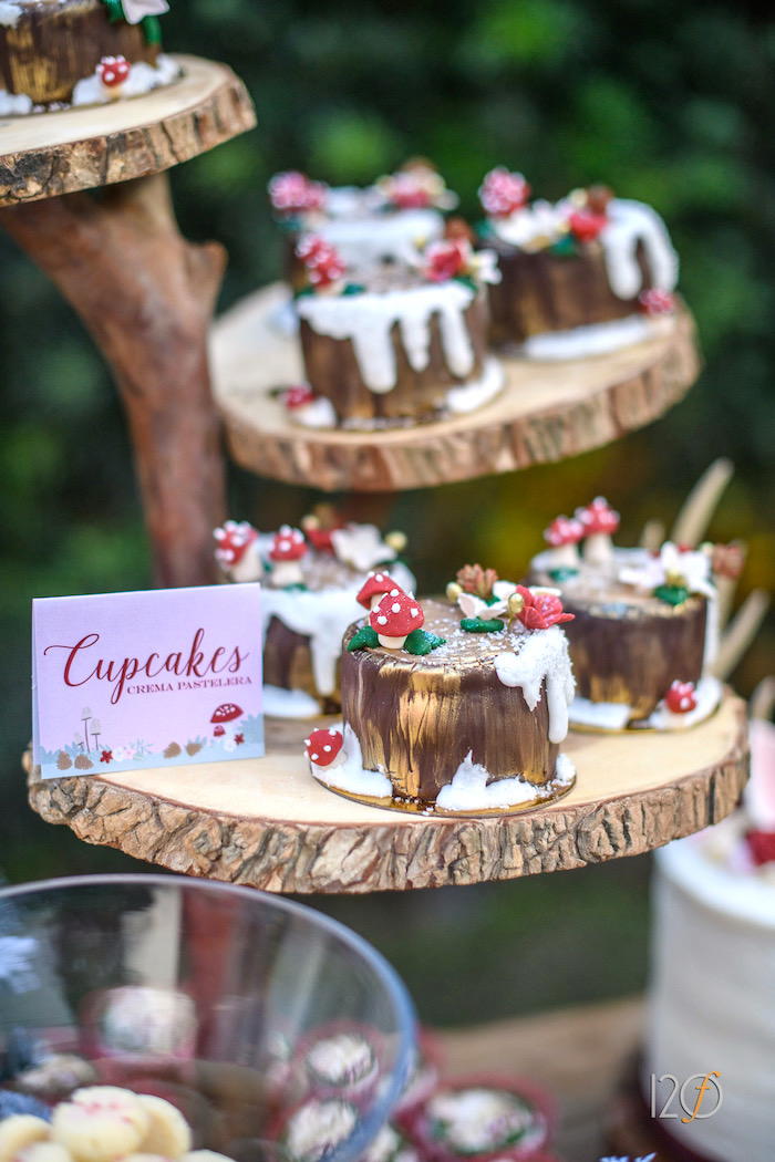 Woodland cupcakes from a Woodland Holiday Birthday Party on Kara's Party Ideas   KarasPartyIdeas.com (4)