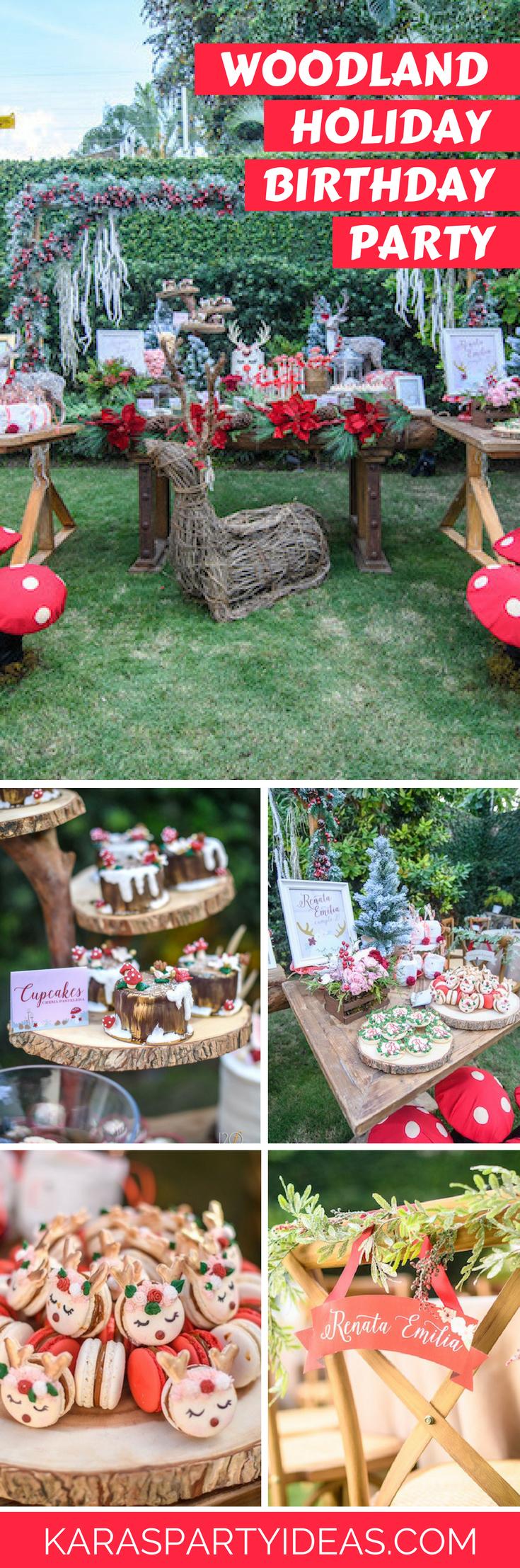 Woodland Holiday Birthday Party via Kara's Party Ideas - KarasPartyIdeas.com