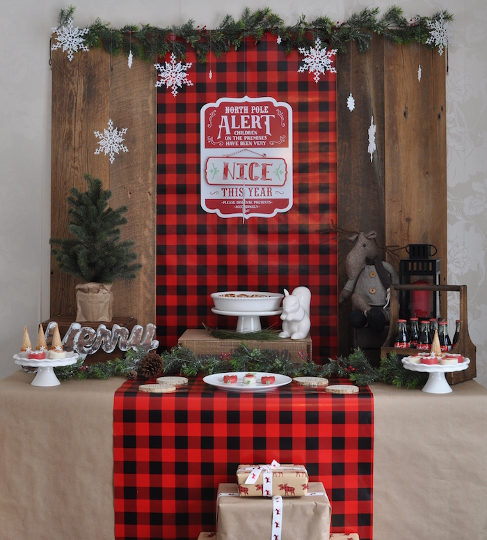 Sweet table from a Woodland Plaid Santa's Workshop Party on Kara's Party Ideas | KarasPartyIdeas.com (12)