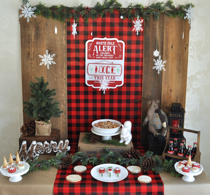 Sweet table from a Woodland Plaid Santa's Workshop Party on Kara's Party Ideas | KarasPartyIdeas.com (11)