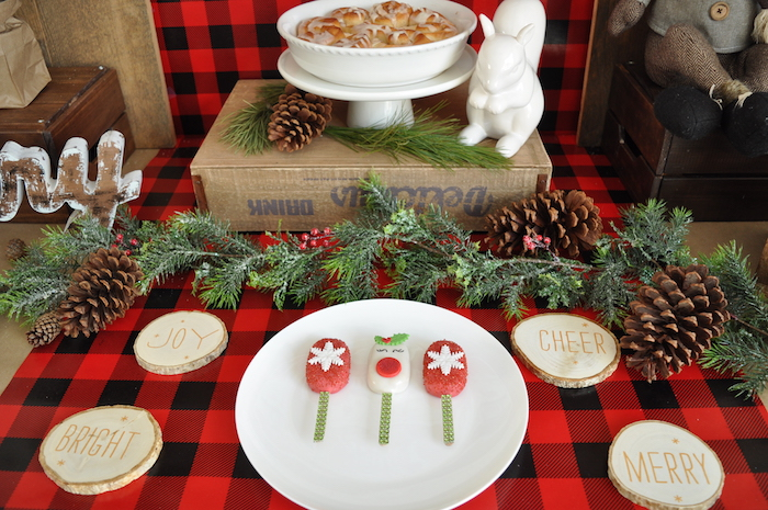 Sweet table detail from a Woodland Plaid Santa's Workshop Party on Kara's Party Ideas | KarasPartyIdeas.com (9)