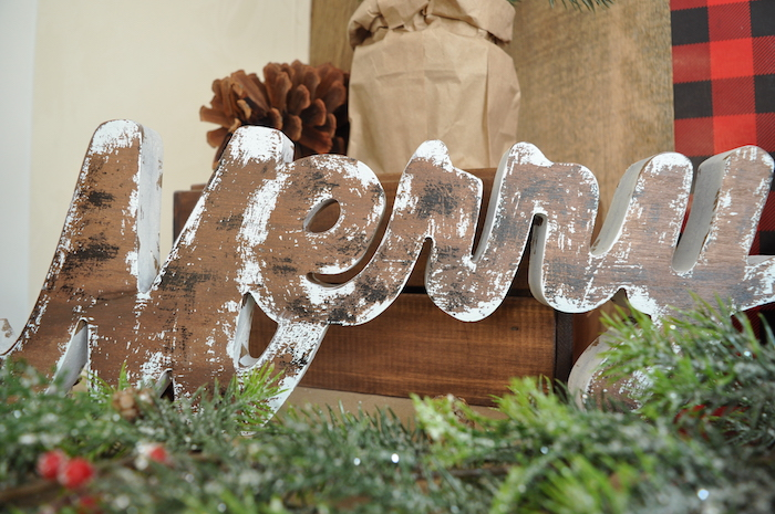 Rustic Merry sign from a Woodland Plaid Santa's Workshop Party on Kara's Party Ideas | KarasPartyIdeas.com (6)