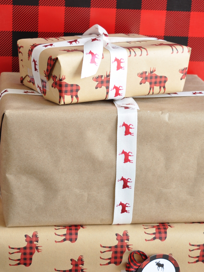 Plaid moose-wrapped presents from a Woodland Plaid Santa's Workshop Party on Kara's Party Ideas | KarasPartyIdeas.com (4)