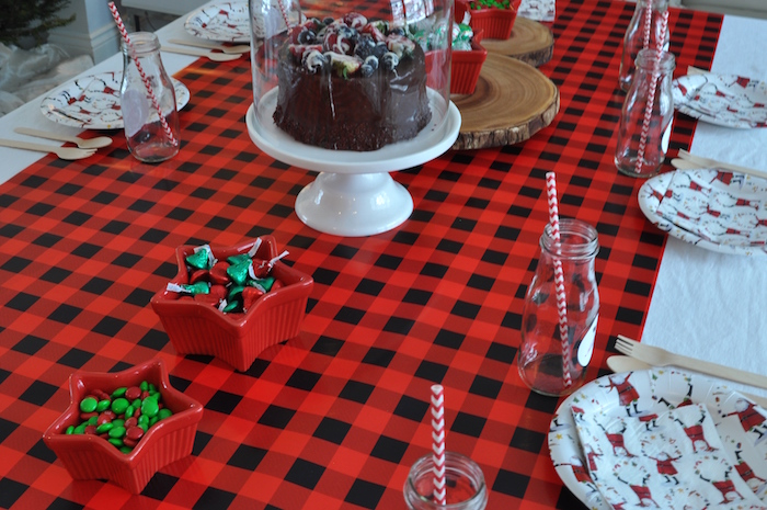 Plaid guest table from a Woodland Plaid Santa's Workshop Party on Kara's Party Ideas | KarasPartyIdeas.com (23)