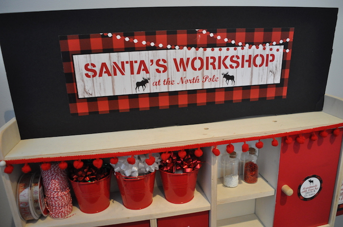 Santa's Workshop from a Woodland Plaid Santa's Workshop Party on Kara's Party Ideas | KarasPartyIdeas.com (19)
