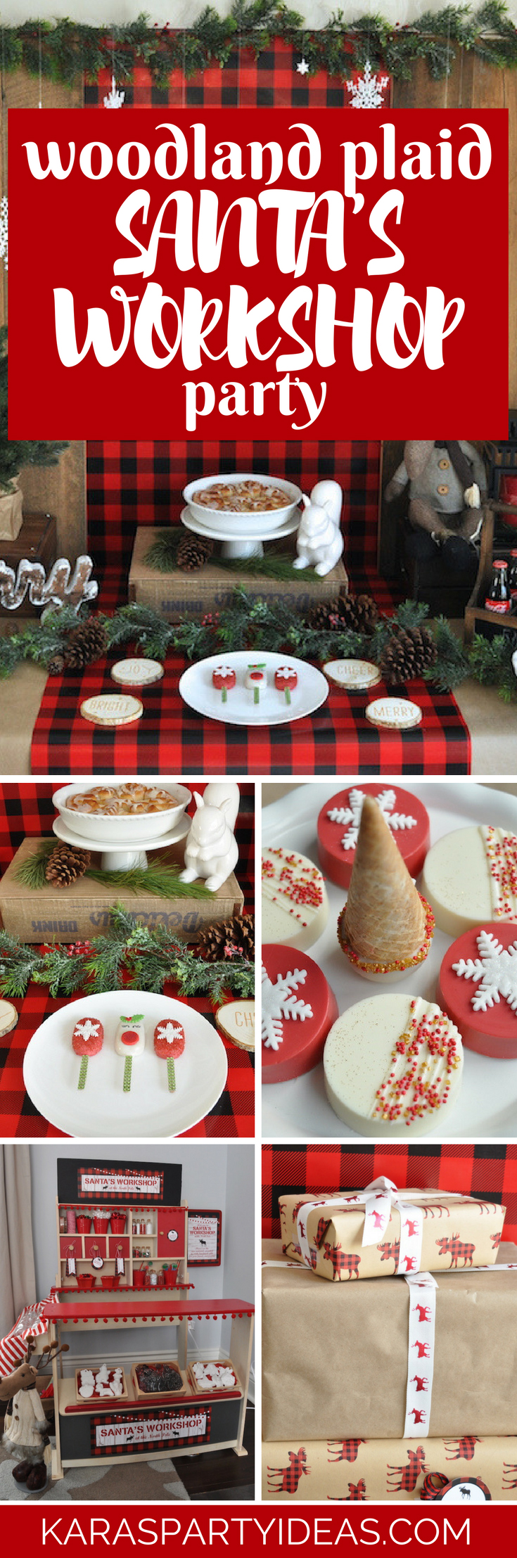 Woodland Plaid Santas Workshop Party via Kara's Party Ideas - KarasPartyIdeas.com