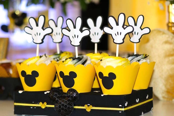 Cupcakes from a Yellow & Gold Mickey Mouse Birthday Party on Kara's Party Ideas | KarasPartyIdeas.com (25)