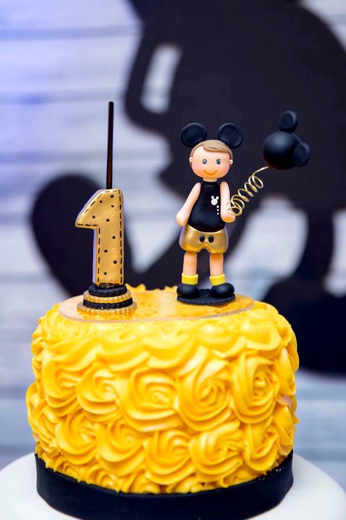 Yellow Rosette Cake from a Yellow & Gold Mickey Mouse Birthday Party on Kara's Party Ideas | KarasPartyIdeas.com (21)