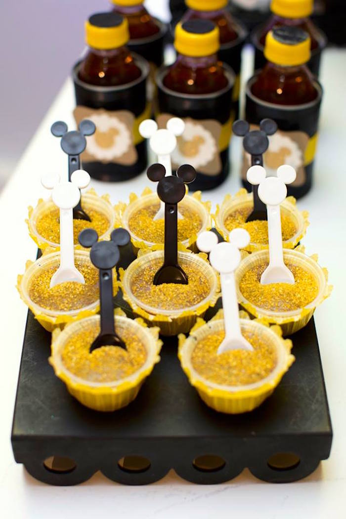 Dessert cups from a Yellow & Gold Mickey Mouse Birthday Party on Kara's Party Ideas | KarasPartyIdeas.com (20)