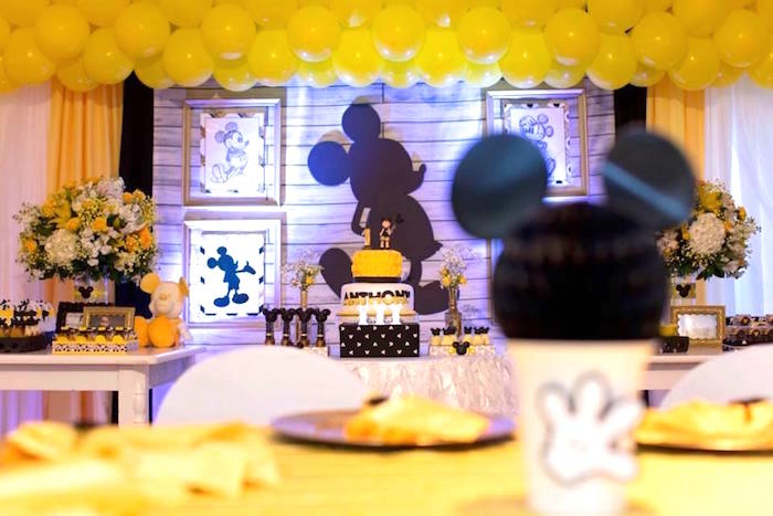Guest table from a Yellow & Gold Mickey Mouse Birthday Party on Kara's Party Ideas | KarasPartyIdeas.com (19)