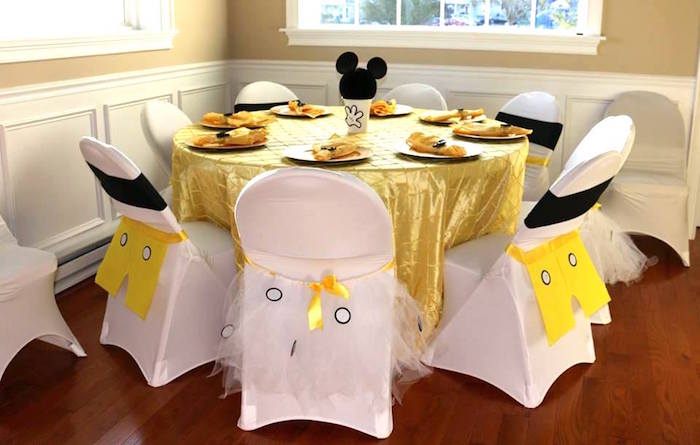 Guest table from a Yellow & Gold Mickey Mouse Birthday Party on Kara's Party Ideas | KarasPartyIdeas.com (18)