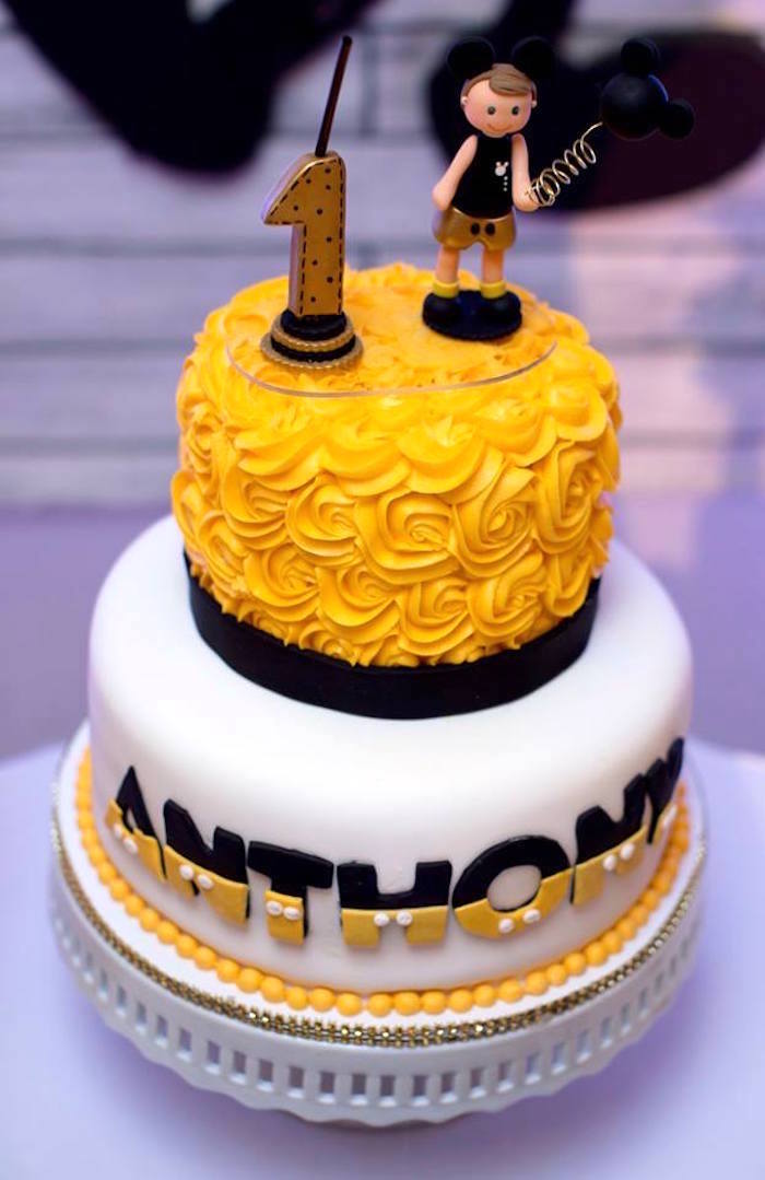 Cake from a Yellow & Gold Mickey Mouse Birthday Party on Kara's Party Ideas | KarasPartyIdeas.com (15)