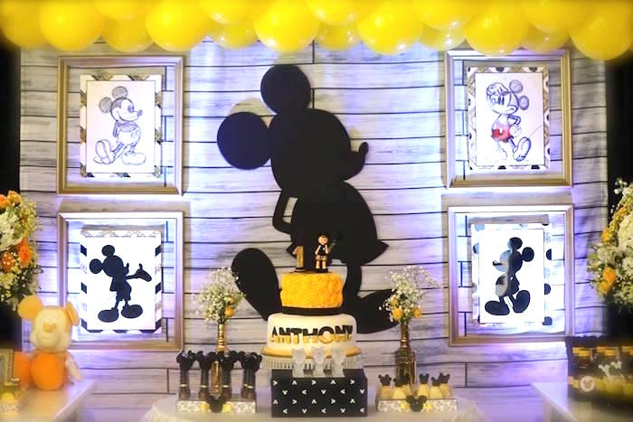 Backdrop from a Yellow & Gold Mickey Mouse Birthday Party on Kara's Party Ideas | KarasPartyIdeas.com (14)