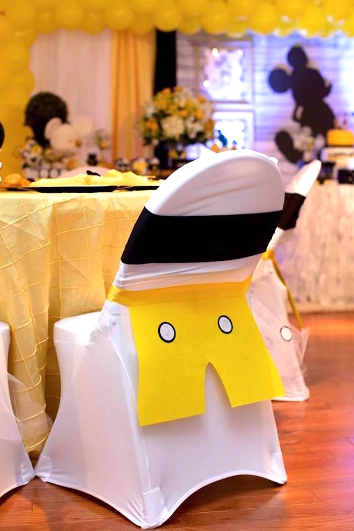 Mickey Mouse guest chair from a Yellow & Gold Mickey Mouse Birthday Party on Kara's Party Ideas | KarasPartyIdeas.com (13)