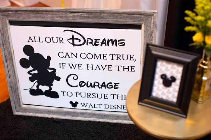 Signage from a Yellow & Gold Mickey Mouse Birthday Party on Kara's Party Ideas | KarasPartyIdeas.com (8)