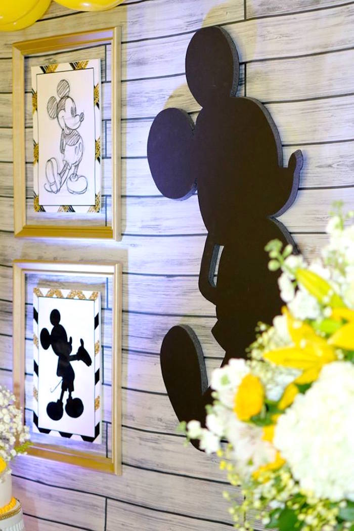 Backdrop from a Yellow & Gold Mickey Mouse Birthday Party on Kara's Party Ideas | KarasPartyIdeas.com (7)