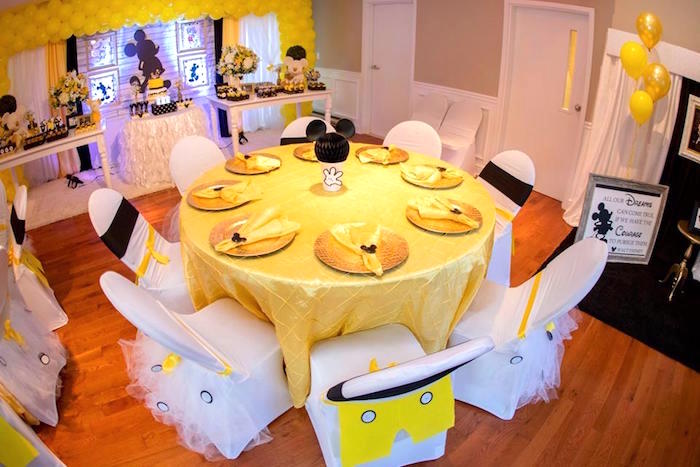 Guest table from a Yellow & Gold Mickey Mouse Birthday Party on Kara's Party Ideas | KarasPartyIdeas.com (5)