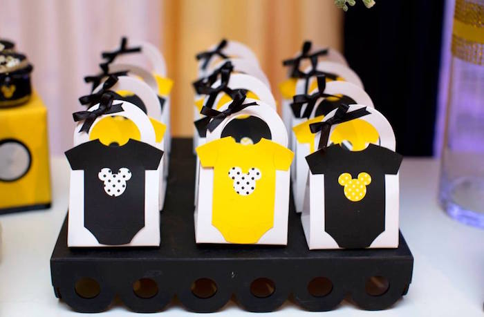 Favor bags from a Yellow & Gold Mickey Mouse Birthday Party on Kara's Party Ideas | KarasPartyIdeas.com (4)