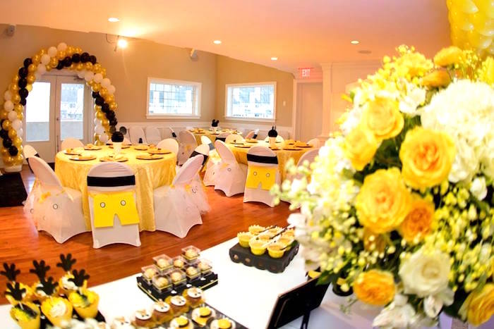 Guest tables + partyscape from a Yellow & Gold Mickey Mouse Birthday Party on Kara's Party Ideas | KarasPartyIdeas.com (29)