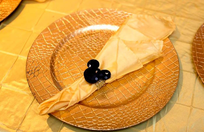 Table setting from a Yellow & Gold Mickey Mouse Birthday Party on Kara's Party Ideas | KarasPartyIdeas.com (28)