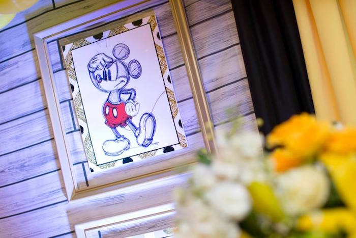 Backdrop artwork from a Yellow & Gold Mickey Mouse Birthday Party on Kara's Party Ideas | KarasPartyIdeas.com (26)