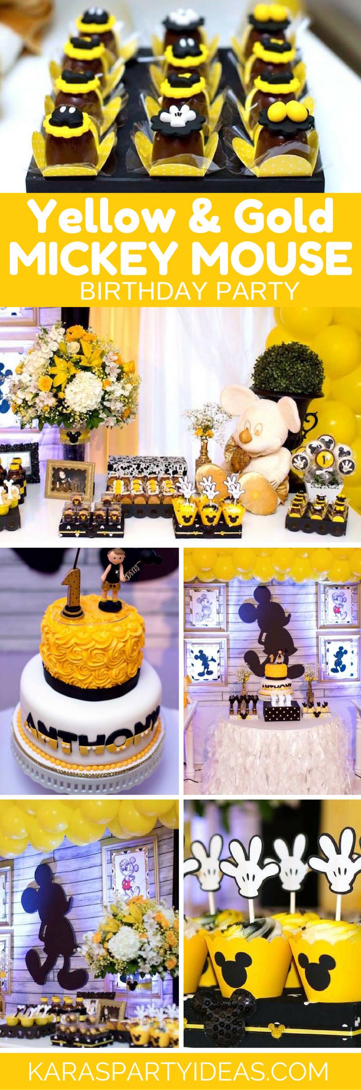 Kara\'s Party Ideas Yellow & Gold Mickey Mouse Birthday Party ...