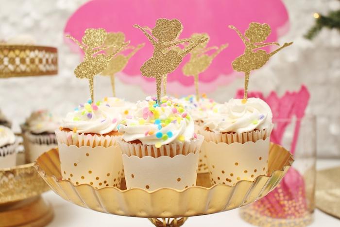 Ballerina cupcakes from a Winter Nutcracker Birthday Party on Kara's Party Ideas | KarasPartyIdeas.com