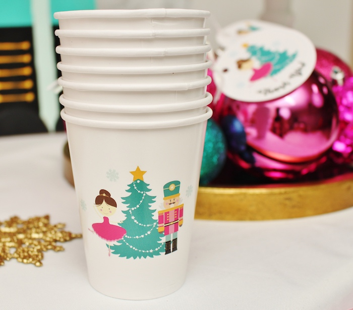Cups from a Winter Nutcracker Birthday Party on Kara's Party Ideas | KarasPartyIdeas.com