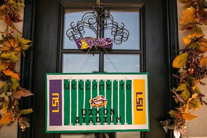 Football Field Welcome Sign from a LSU Football Party on Kara's Party Ideas   KarasPartyIdeas.com (21)