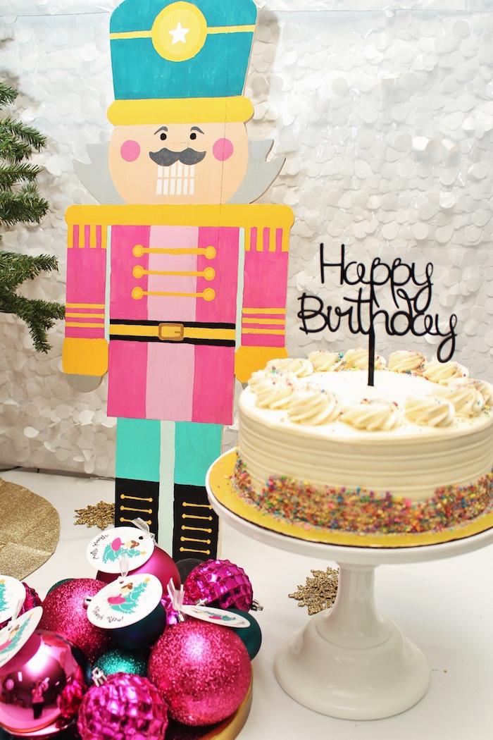 Cake from a Winter Nutcracker Birthday Party on Kara's Party Ideas | KarasPartyIdeas.com