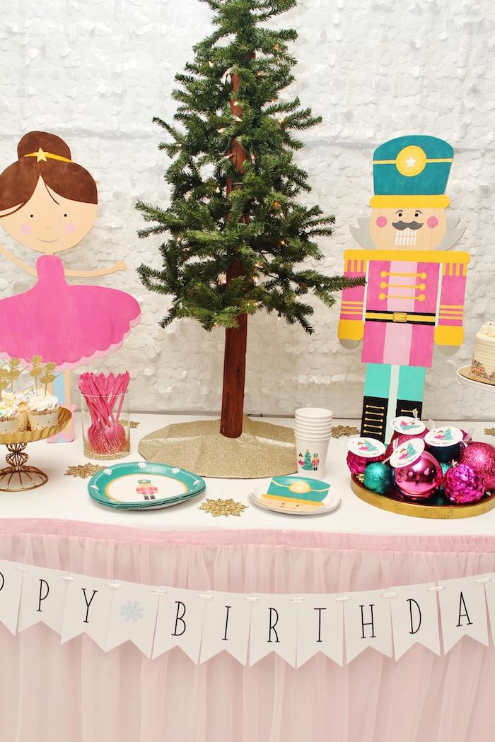 Table details from a Winter Nutcracker Birthday Party on Kara's Party Ideas | KarasPartyIdeas.com