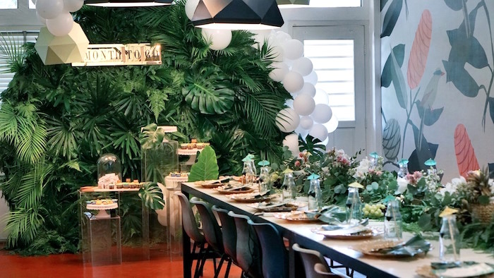 Party tables from a Tropical Jungle Baby Shower on Kara's Party Ideas | KarasPartyIdeas.com (9)