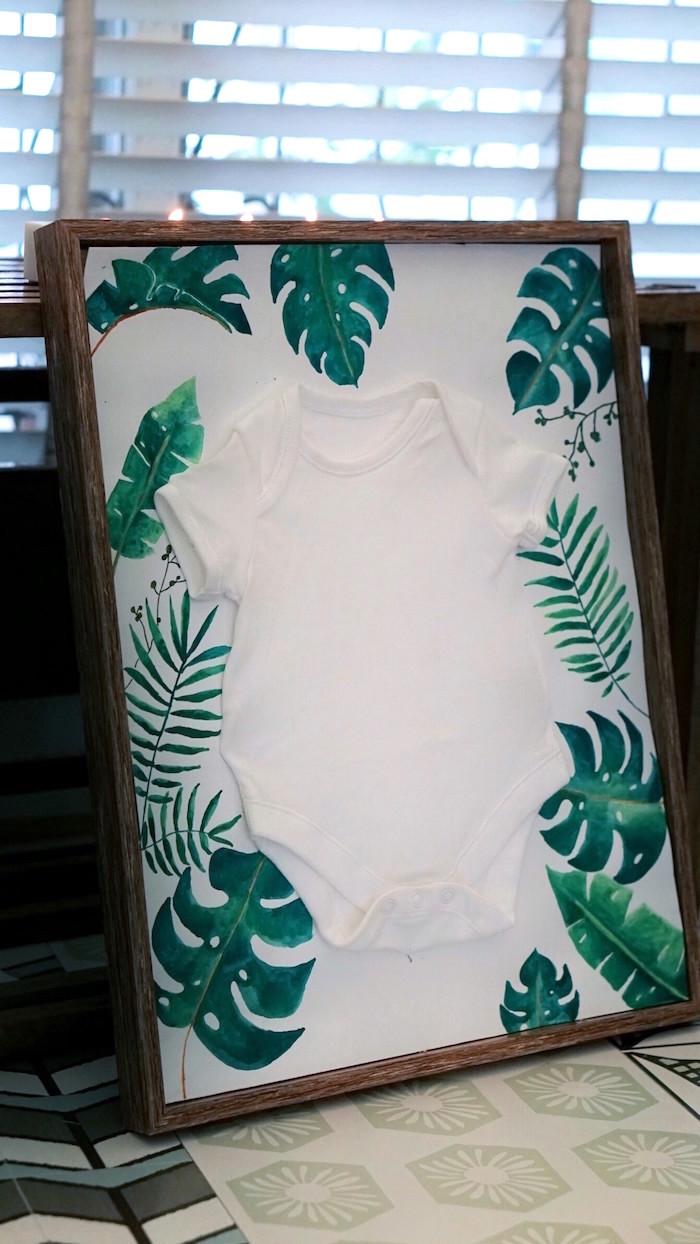 Tropical onesie board from a Tropical Jungle Baby Shower on Kara's Party Ideas | KarasPartyIdeas.com (8)